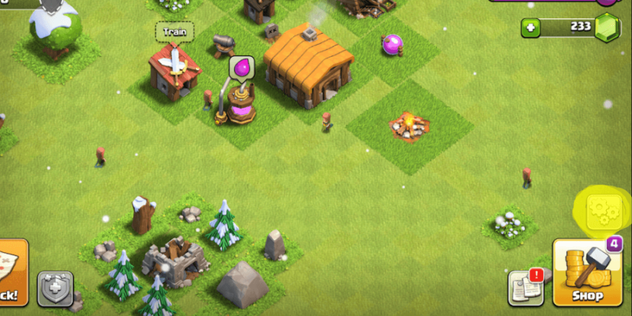 A screenshot of the main village in Clash of Clans.