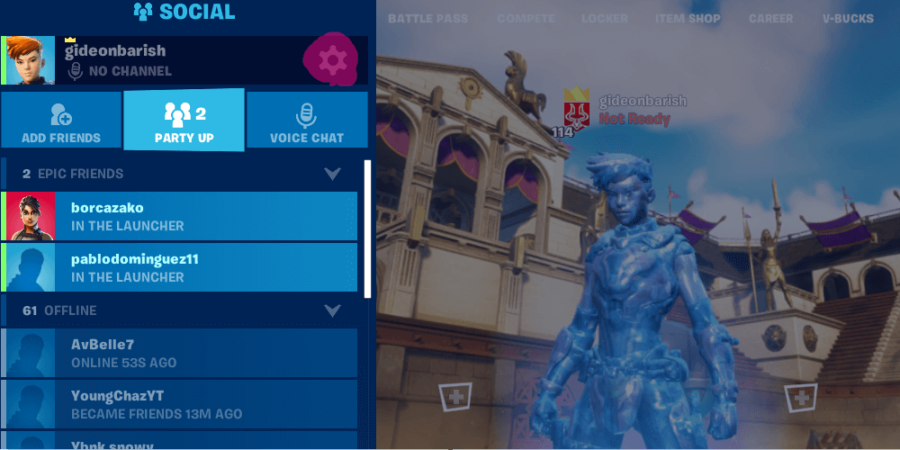 A highlight of the Social Menu button in Fortnite.
