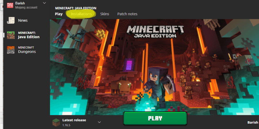 A screenshot of the Minecraft title page with Installations highlighted.