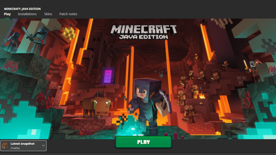 A screenshot of the Minecraft Title page with the snapshot selected.