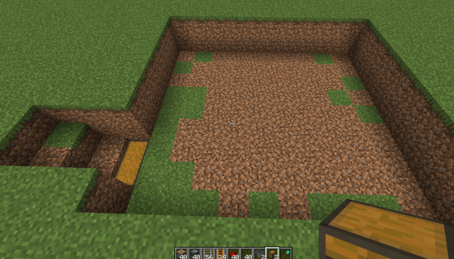 A screenshot of the hole dug in the ground for the melon farm.