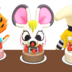 Several villagers with birthday cakes in Animal Crossing: New Horizons.