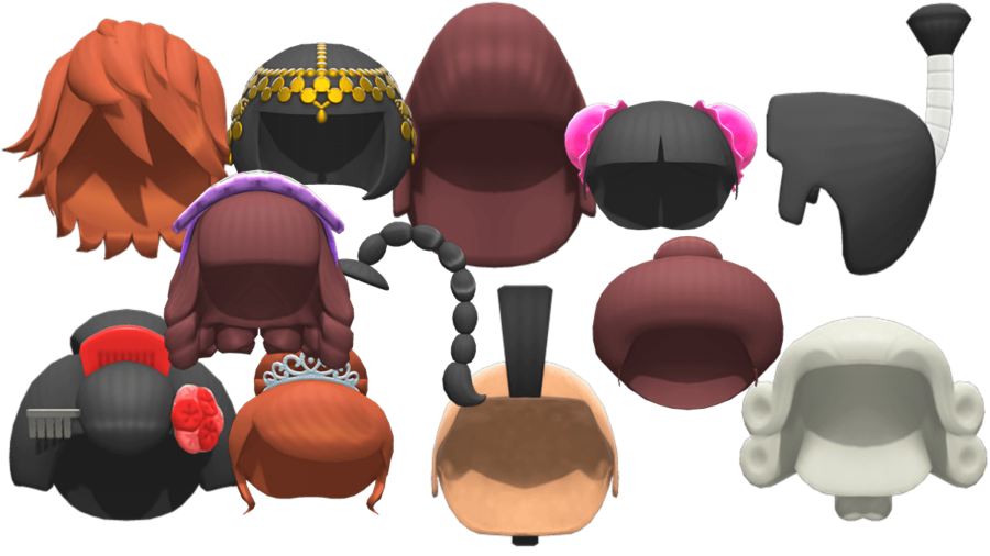 Several headpieces in Animal Crossing: New Horizons.