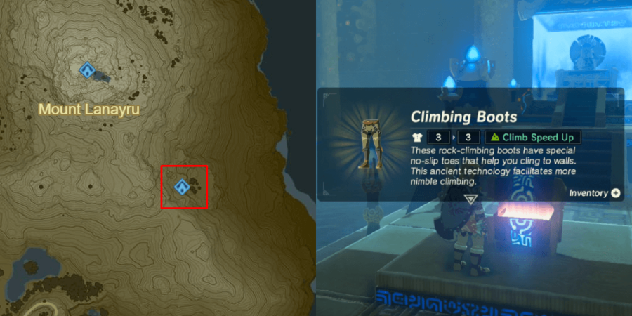 The Climbing Boots location in botw.