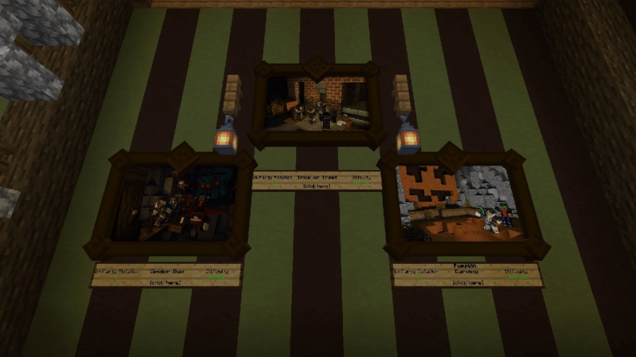 A screenshot of pictures with minigames in Minecraft.