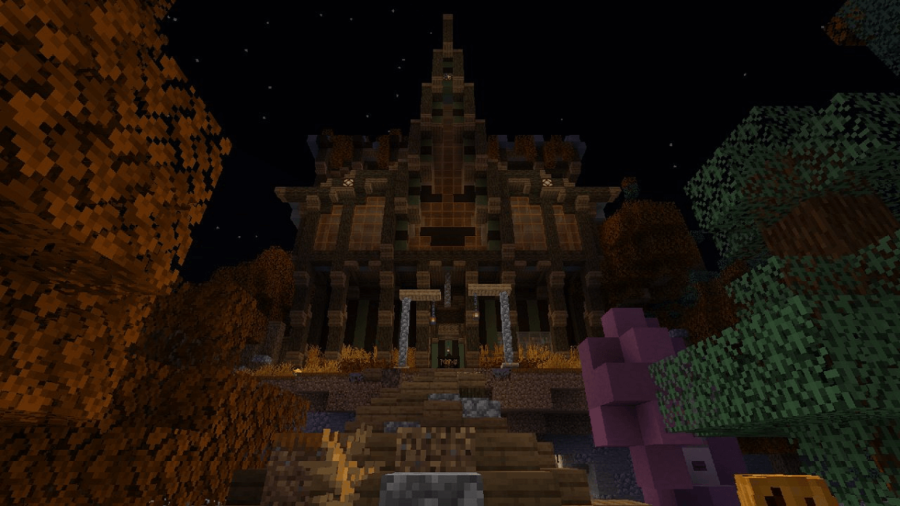 A screenshot of a spooky mansion in Minecraft.