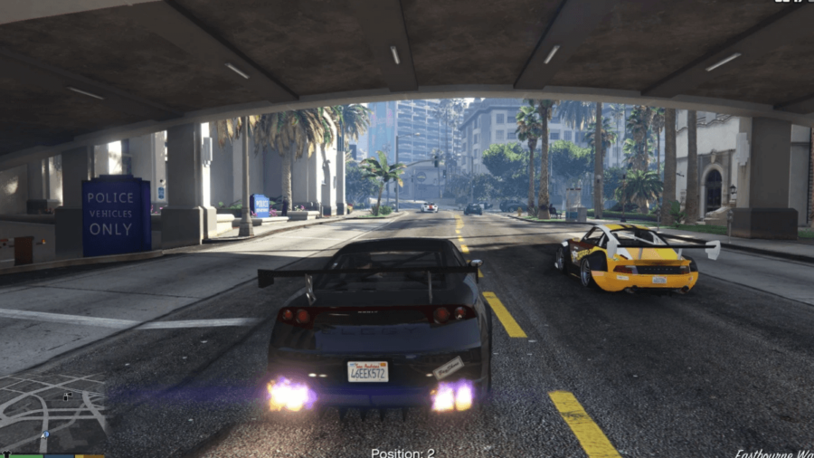 A race about to start in GTA V.