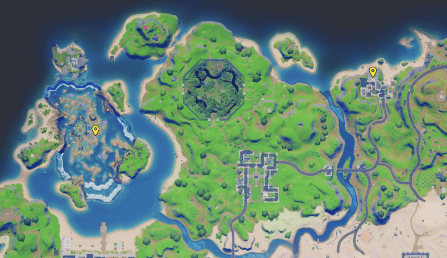 A screenshot from Fortnite showing where to find Fishstick NPC