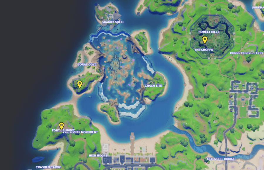 A screenshot from Fortnite showing where to find Grumbles' love potions