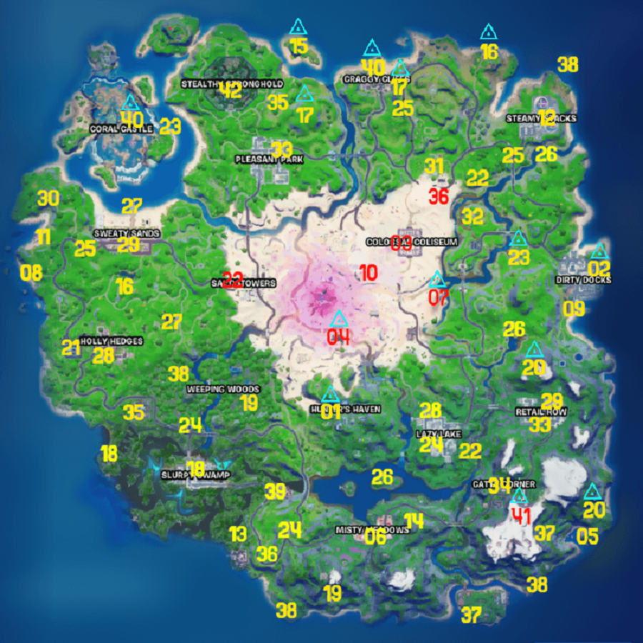 All Fortnite NPC and Exotic Weapon locations.