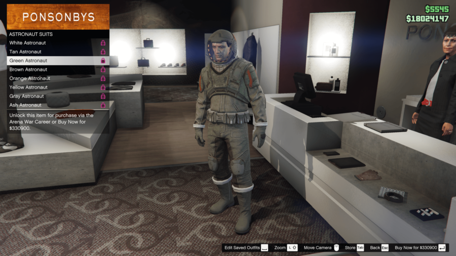 A green space astronaut suit in GTA V.