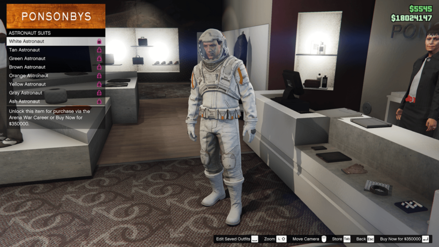 A white astronaut suit in GTA V.
