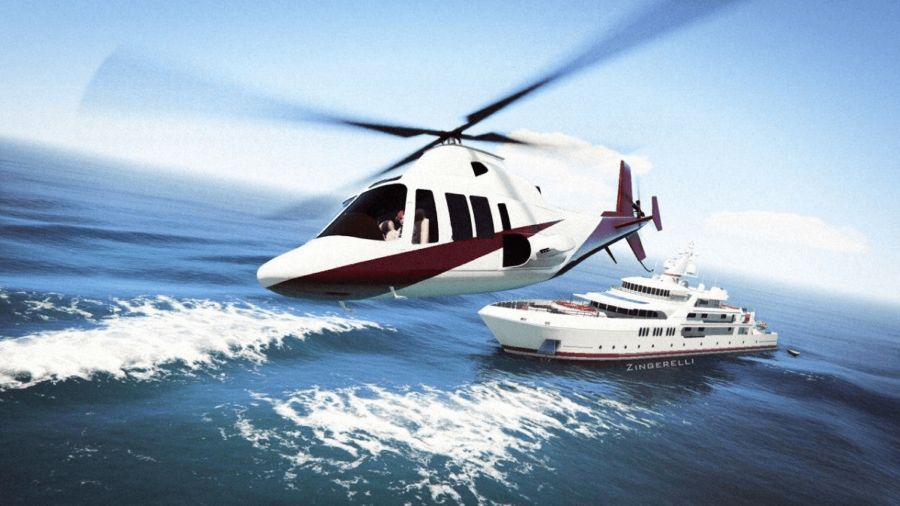 A helicopter flying with a boat in the background in GTA V.
