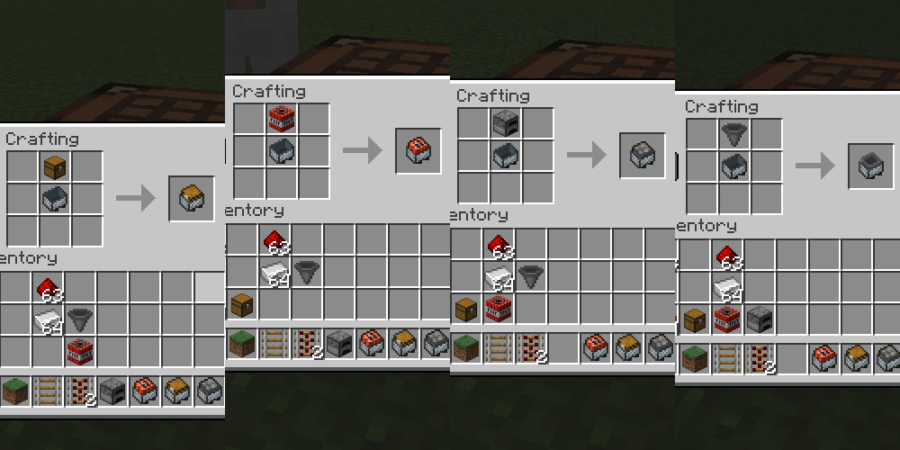 The recipes to make different minecarts.
