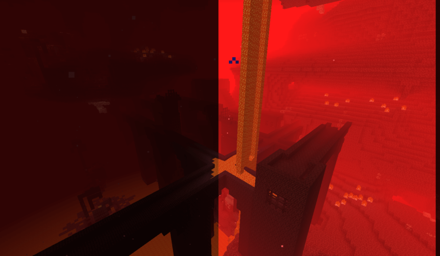The difference between normal vision and nightvision in the Nether.