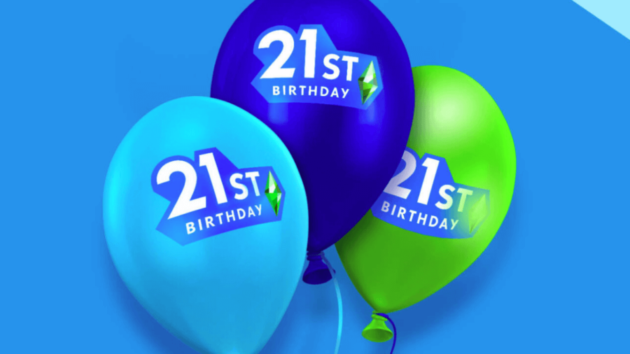 The birthday ballons for the Sims Anniversary.