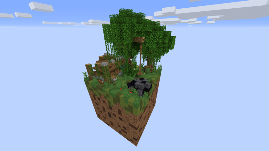 A screenshot of a large floating Minecraft grass block.