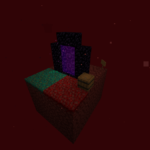 A screenshot of a Skyblock in the Nether.
