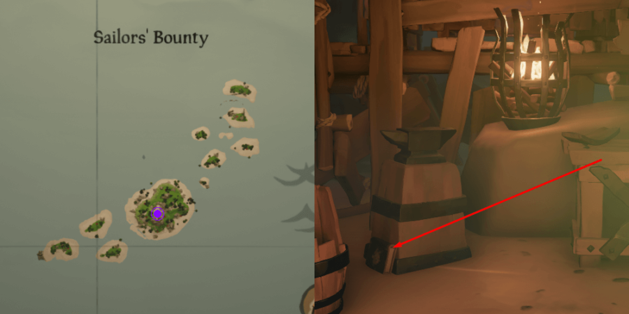 The Art of the Trickster Journal location near the anvil on Sailor's bounty.