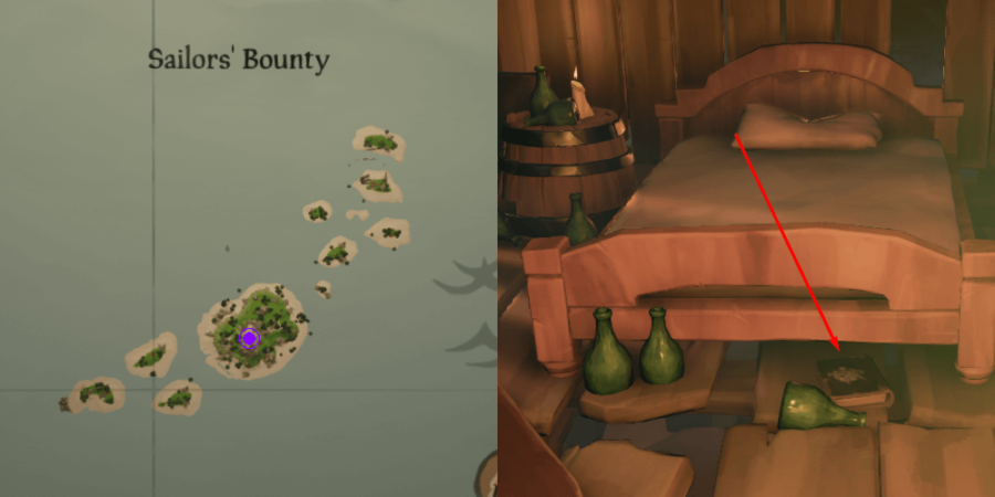 The Art of the Trickster Journal Location near the bed on Sailor's Bounty.