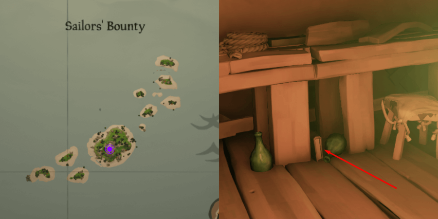 The Art of the Trickster Journal location near the table on Sailor's Bounty.