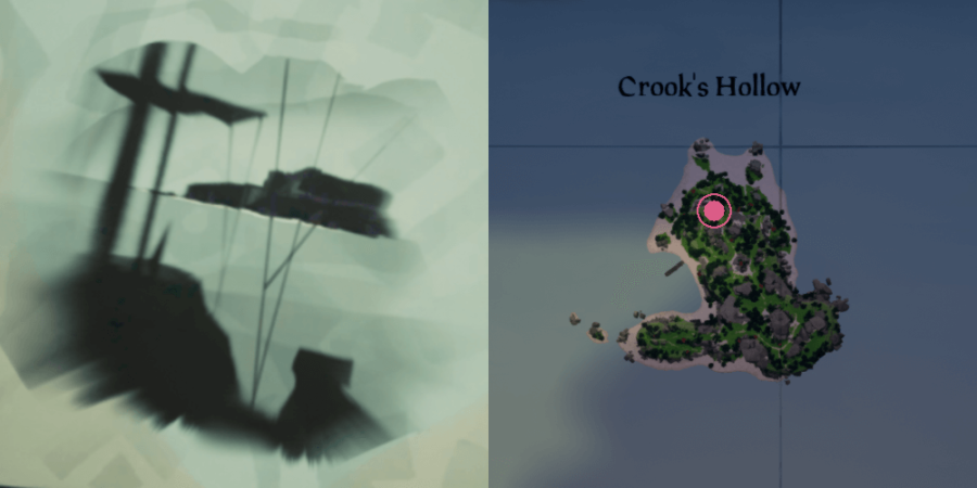 The image and location of the Skeleton Chest on Crooks Hallow.