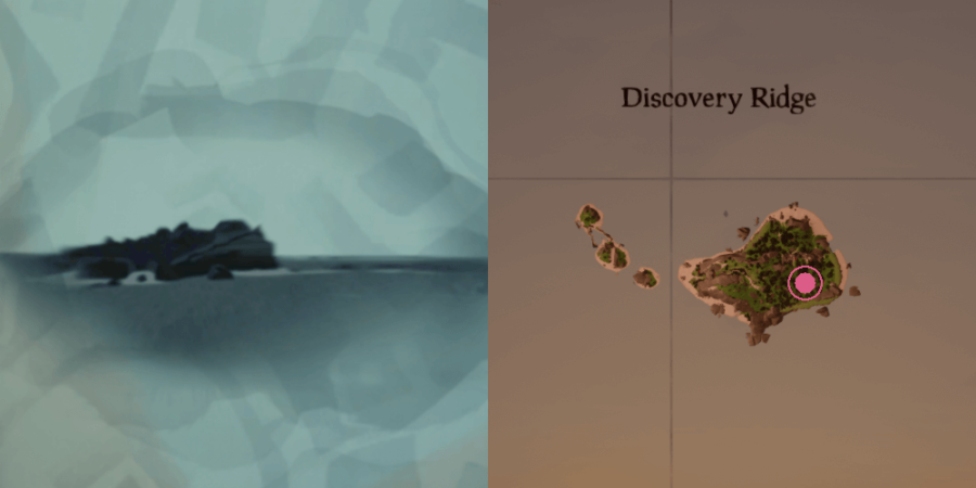 The image and location of the Skeleton Chest on Discovery Ridge.