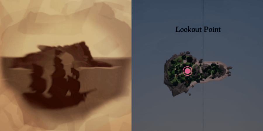 The image and location of the Skeleton Chest on Lookout Point.