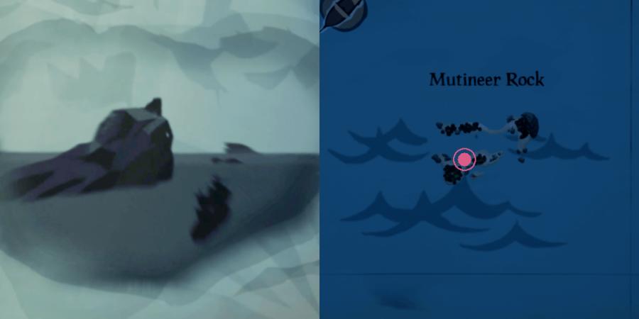 The image and location of the Skeleton Chest on Mutineer Rock.