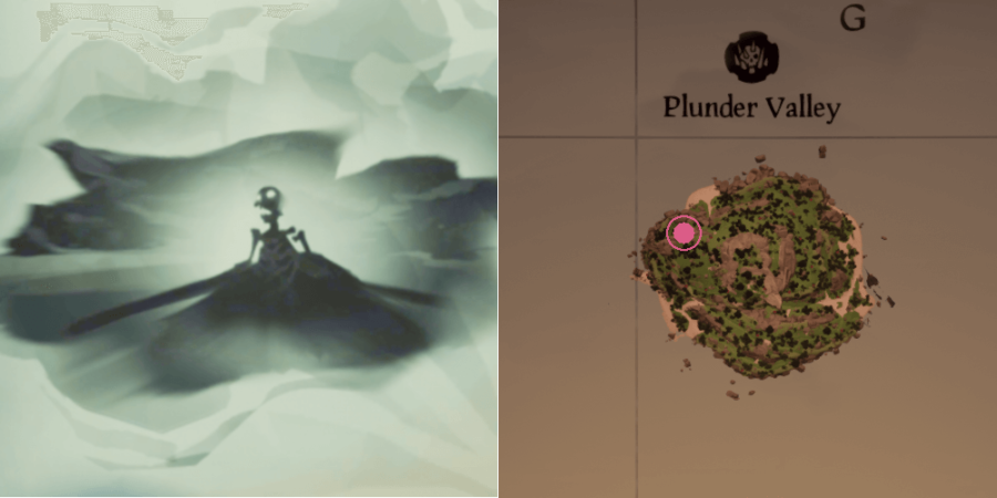 The image and location of the Skeleton Chest on Plunder Valley.