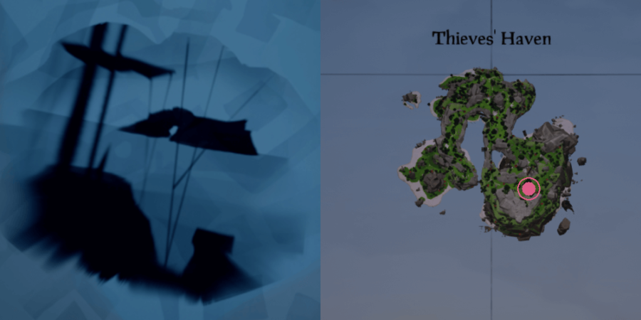 The image and location of the Skeleton Chest on Thieve's Haven..