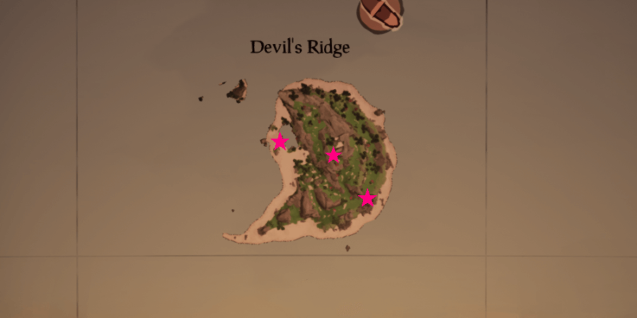 An overhead view of all the medallion locations on Devil's Ridge.