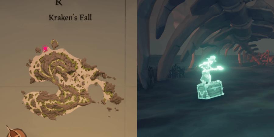 The location of Dinger's Chest on Kraken's Fall.