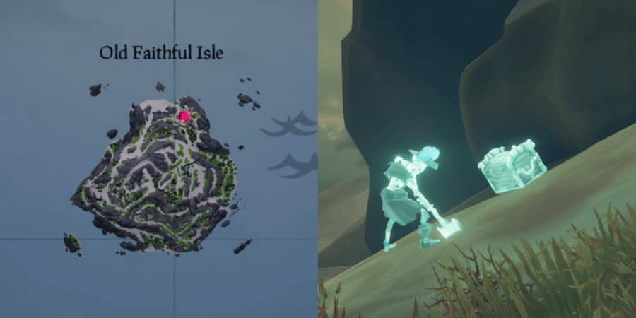 The location of Eli's chest on Old Faithful Isle.