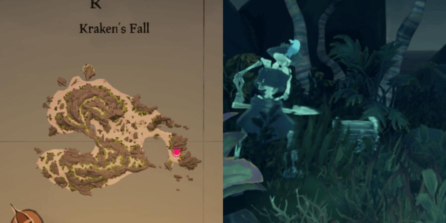 The location of Eli's chest on Kraken's Fall.