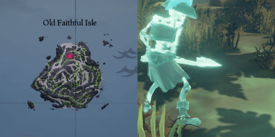 The location of Fontaine's chest on Old Faithful Isle.