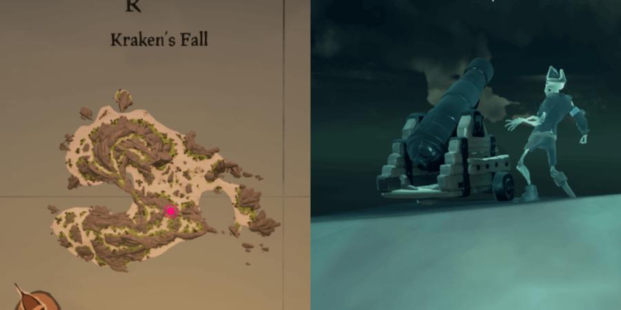 The location of Dinger's Key on Kraken's Fall.
