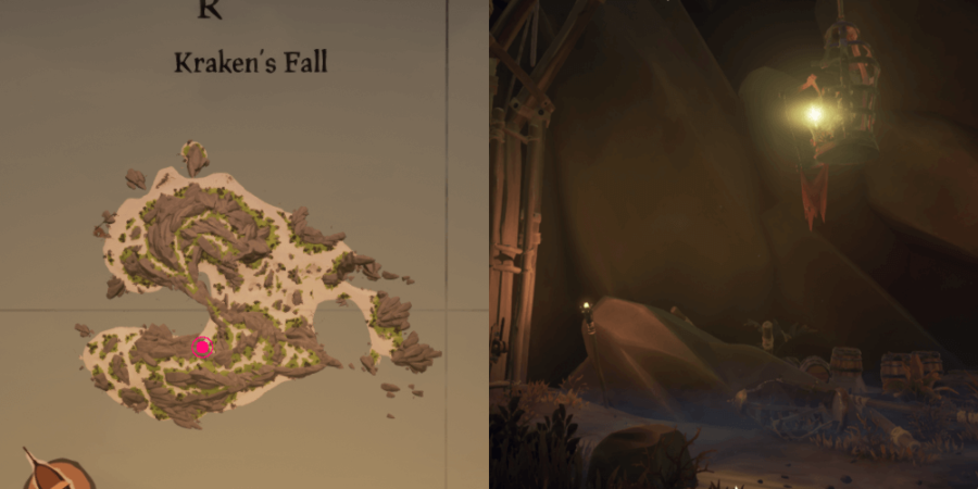 The location of Fontaine's key on Kraken's Fall.