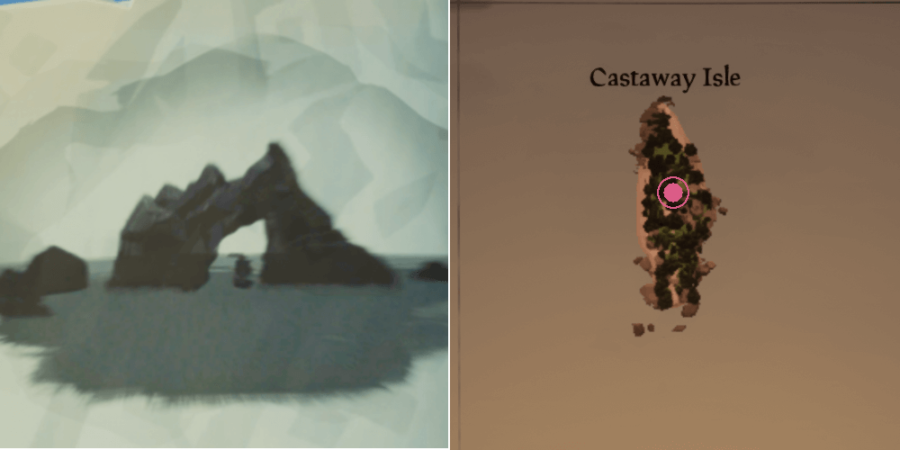 The location of the key on Castaway Isle.
