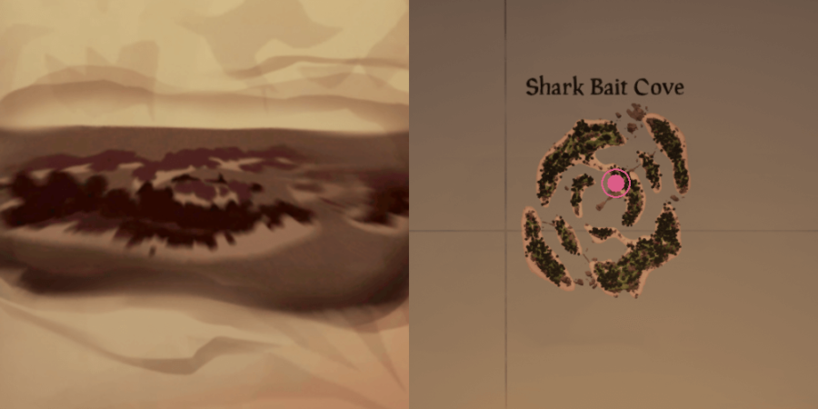 The location of the key on Shark Bait Cove.