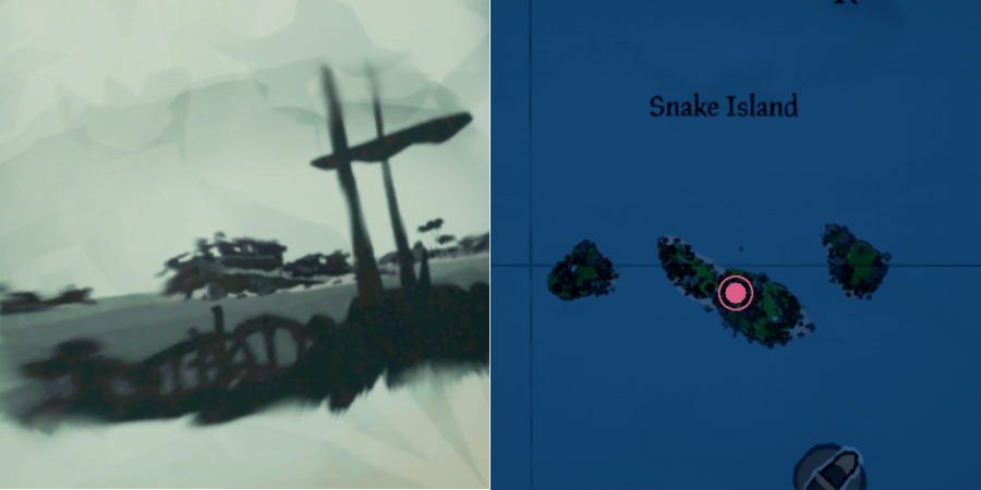 The Location of the key on Snake Island.