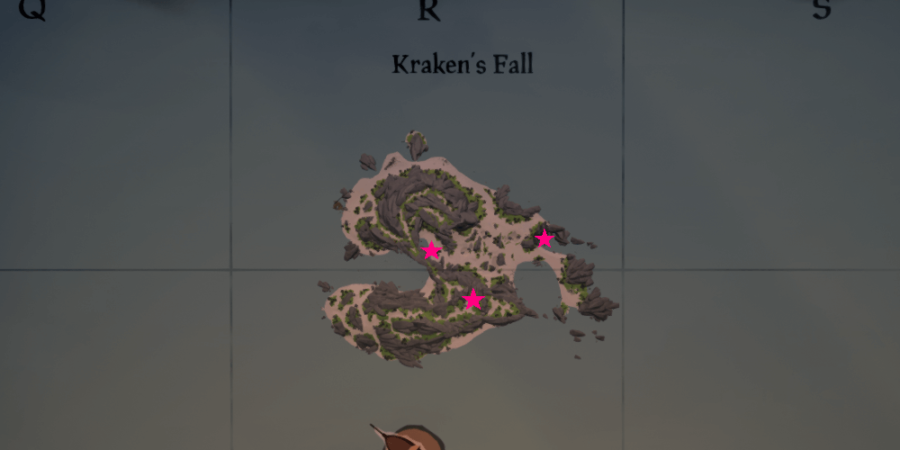 An overhead view of all the medallions locations on Krakens Fall.