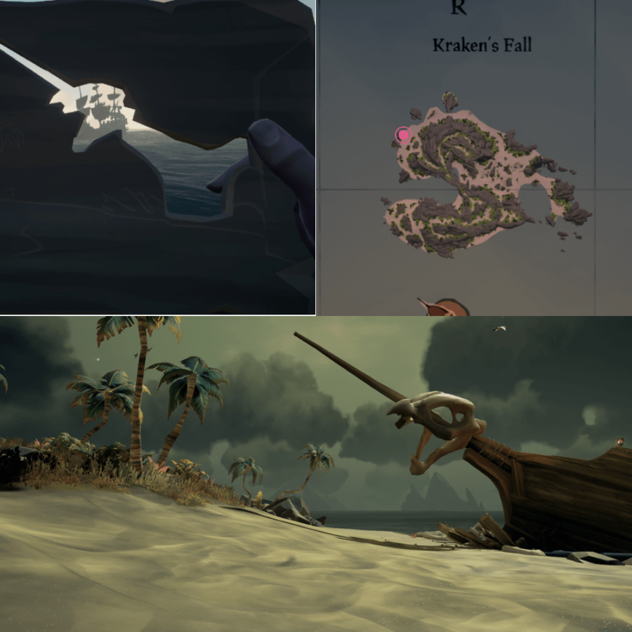 An overhead view of where to find the Crest on Kraken's Fall..