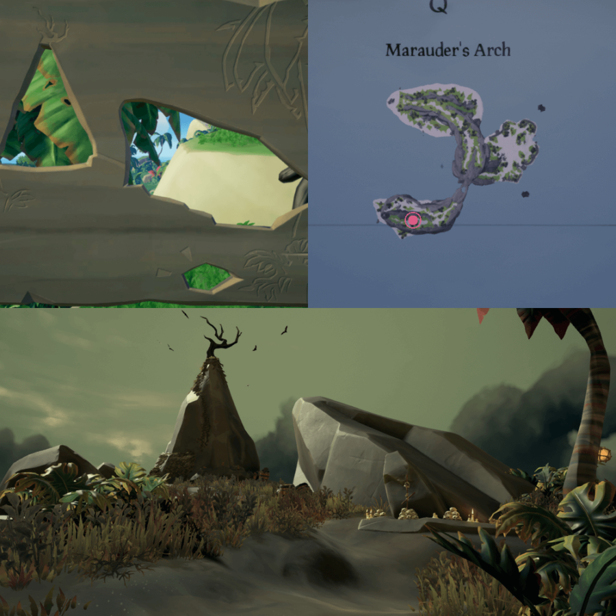 An overhead view of where to find the Crest on Marauder's Arch..