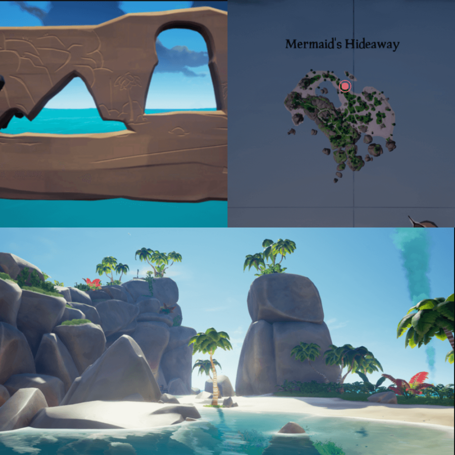 An overhead view of where to find the Crest on Mermaid's Hideaway..