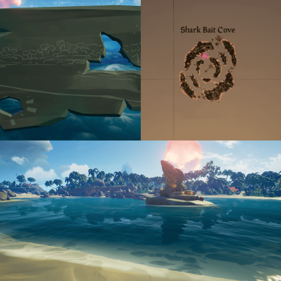 An overhead view of where to find the Crest on Shark Bait Cove..
