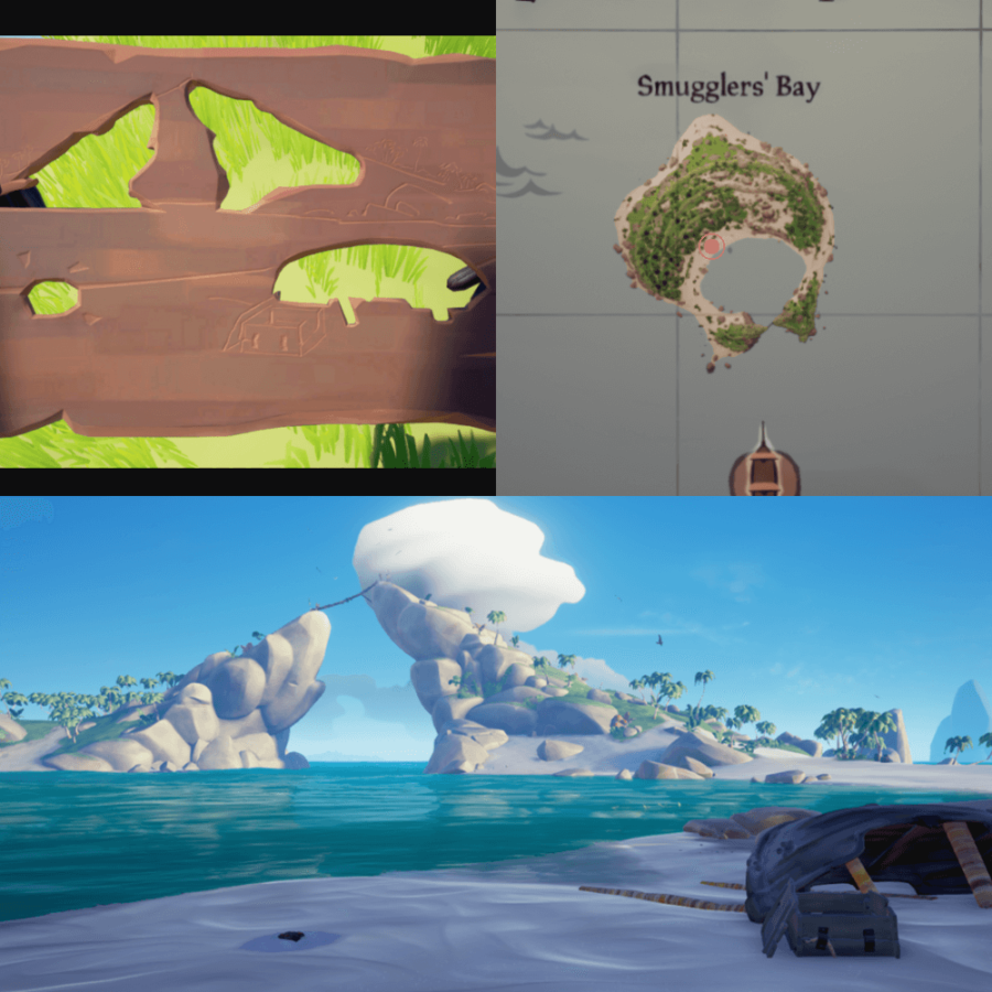 An overhead view of where to find the Crest on Smuggler's Bay..