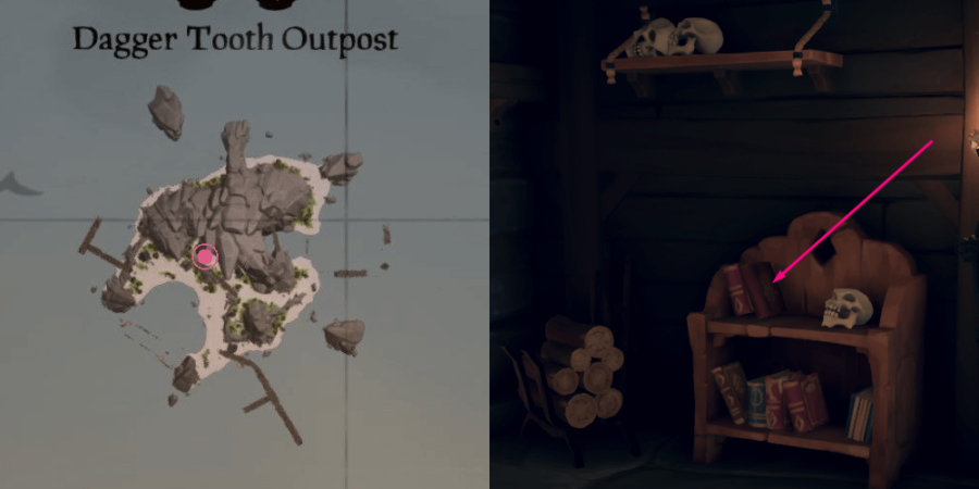 The location of the journal on Dagger Tooth Outpost.
