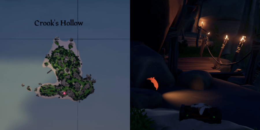 An overhead view of where to find the key in Crooks Hollow.