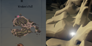 An overhead view of where to find the key on Kraken's Fall..